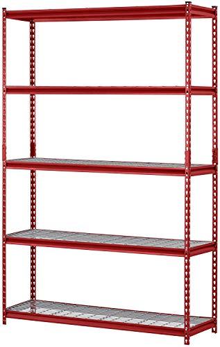 Muscle Rack UR184872-R 5-Shelf Steel Shelving Unit 48 Width x 72 Height x 18 Length Red Pack of 1