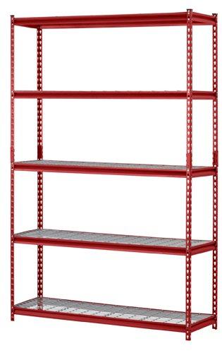 Muscle Rack UR301260WD5-R 5-Shelf Steel Shelving Unit 30 Width x 60 Height x 12 Length Red