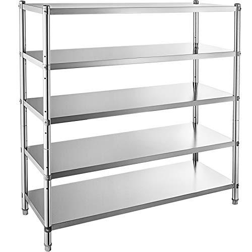 VBENLEM Stainless Steel Shelving 48x185 Inch 5 Tier Adjustable Shelf Storage Unit Stainless Steel Heavy Duty Shelving for Kitchen Commercial Office Garage Storage 330lb Per Shelf
