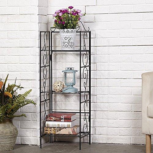 Amagabeli 3 Tier Wire Shelf Shelving Unit 14x11x43 inch Rustproof Metal Storage Planter Potted Plants Bakers Shoe Rack Kitchen Bathroom Corner Organizer Bookcase Indoor Garage Standing Bookshelf Black
