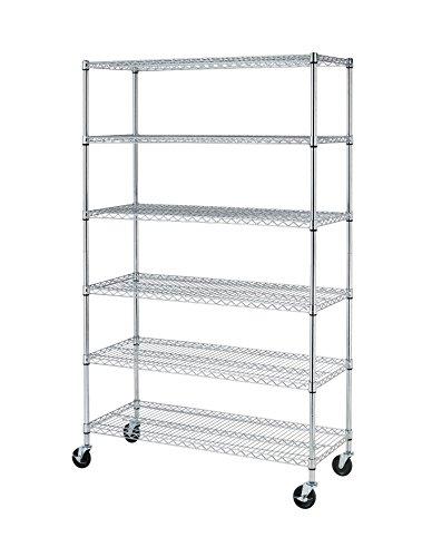 PayLessHere Chrome 6 Shelf Commercial Adjustable Steel shelving systems On wheels wire shelves shelving unit or garage shelving storage racks