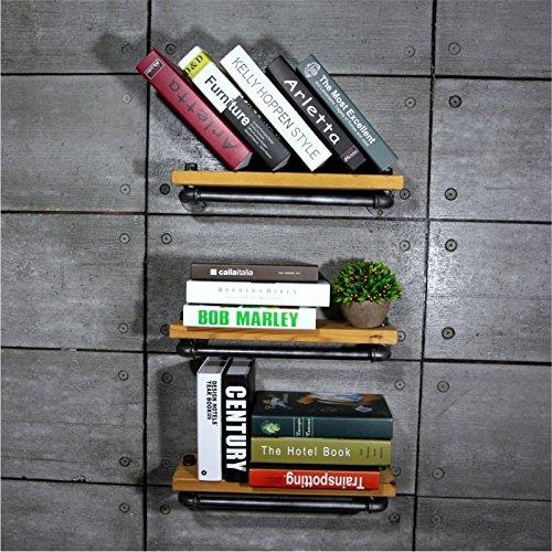 123Pcs Rustic bookshelf Ladder Shelf Rustic shelf with hooks rustic farmhouse shelf industrial shelvesbookcase on wall- 3