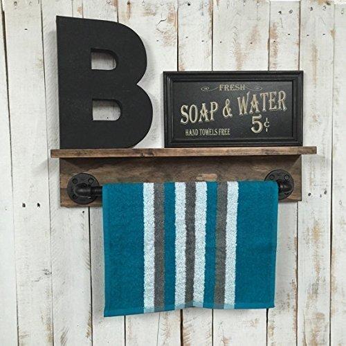 Bathroom shelf rustic towel rack rustic bathroom décor rustic home décor industrial shelf rustic shelf rustic home décor pipe shelf