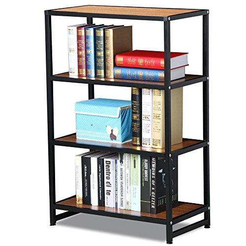 Yaheetech 4 Tier Industrial Shelf Bookshelves Metal Bookshelf Collection Shelves Unit Black Brown