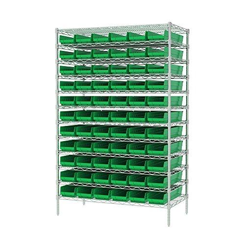 Akro-Mils 12 Shelves Wire Shelving Bin Rack Storage Unit with 66 Shelf Bins 24Dx48Wx74H Chrome Green