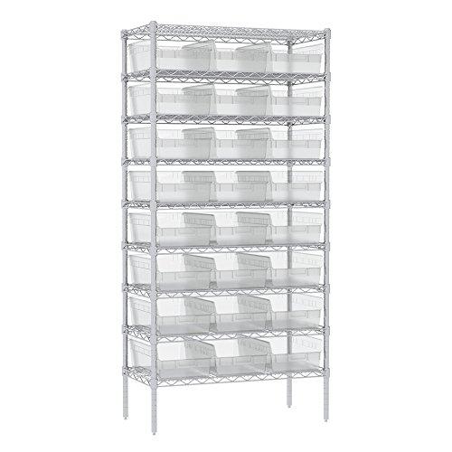 Akro-Mils 9 Shelves Wire Shelving Bin Rack Storage unit with 24 Shelfmax Bins 18Dx36Wx74H Chrome Clear