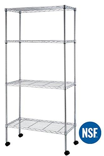 eeZe Rack HEAVY DUTY Steel Wire Shelving Set Wheels S-hooks Included NSF 30 x 14 x 60 4-Tier Chrome