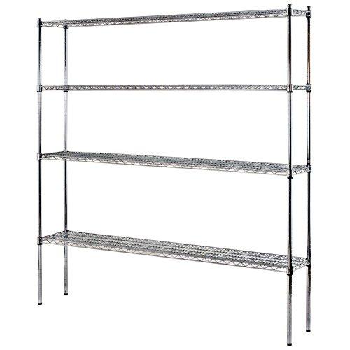 Muscle Rack WS721286-C D 4-Shelf Steel Shelving Unit in Chrome 86 Height x 72 Width x 12