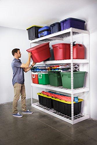 SafeRacks Garage Storage Rack - White  Steel Shelving Unit  2D x 6W x 7T