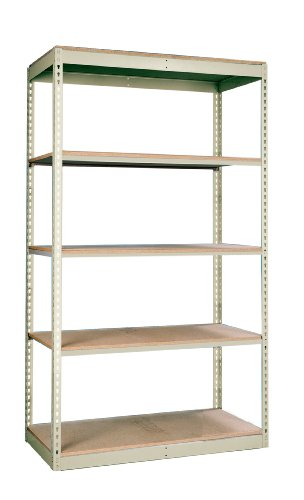 Hallowell SRS481284-5SP Rivetwell Single Rivet Boltless Shelving 48 Width x 12 Depth x 84 Height 5 Levels Starter Unit 729 Parchment