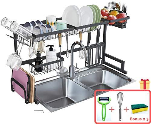 Brexla Over the Sink Dish Drying Rack 338 - Kitchen Counter Organizer Drainer with Utensil Supplies Holder - Premium Stainless Steel Storage Shelf for Display Organization - Three Bonuses