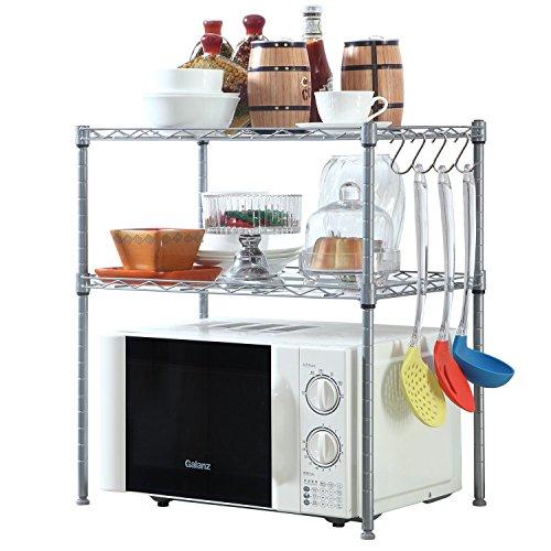 HOMFA Kitchen Microwave Oven Rack Shelving Unit 2-Tier Adjustable Stainless Steel Storage Shelf