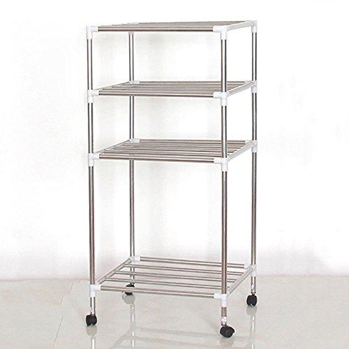 HPLL Storage Racks Multi-layer Stainless Steel Storage Shelf Floor-standing Washbasin Holder Kitchen Bathroom Storage Shelf Size  894335CM