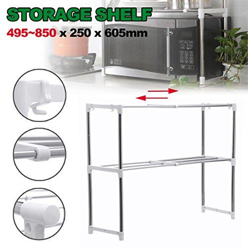 KINGSO 2-Tier Storage Unit Microwave Oven Rack Shelving Unit Stainless Steel Counter Storage Shelf Organizer Adjustable wiht shim