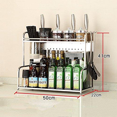 Microwave oven rack Kitchen Shelf - Condiment Shelf Seasoning Shelf304 Stainless Steel Storage ShelfKnife Holder With Hooks And Chopsticks Cup -by TIANTA Size  50CM