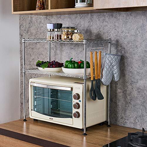 Teeker Kitchen Microwave Oven Rack Shelving Unit 2-Tier Adjustable Stainless Steel Storage Shelf