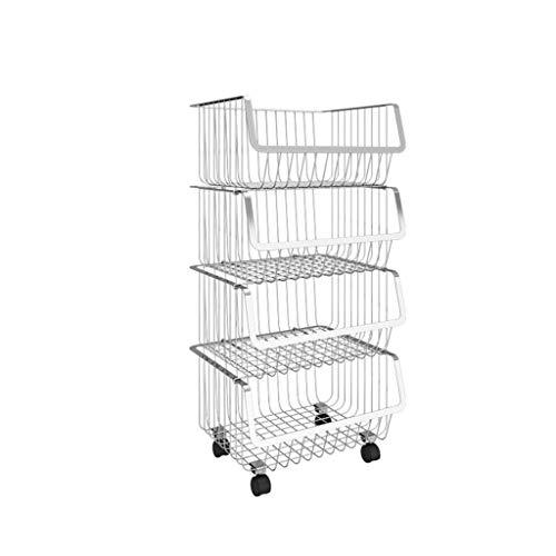 ZLZ- Multi-layer rack Kitchen storage rack Stainless steel Storage shelf With pulley Simple Size  Four layers