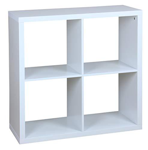 Home Basics 4 Open Cube Organizing Wood Storage Shelf - Free Standing Bookshelf Shelving Display Unit for Livingroom Bedroom Toy Room Entryway Closet White