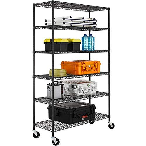 NSF Wire Shelving Unit Heavy Duty Garage Storage Shelves Large Black Metal Shelf Organizer 6-Tier Height Adjustable Commercial Grade Utility Steel Storage Rack with Wheels18 D x 48 W x 76 H