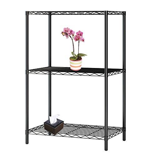 WAFJAMF Metal shelving unit for storagefloor standing shelf organizer 3-Layer Plastic Coated Iron Shelf-Black