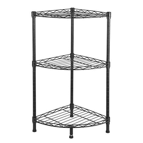 FRITHJILL 3-Tier Adjustable Corner Wire ShelvingMetal Wire Shelving Rack Unit Storage Organizer TowerBlack