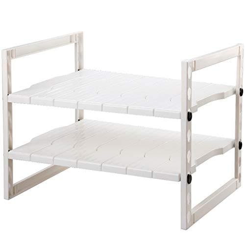 2-layer Expandable Kitchen Sink Under Shelf Adjustable Storage Shelf Storage Cabinet White 54~864040cm