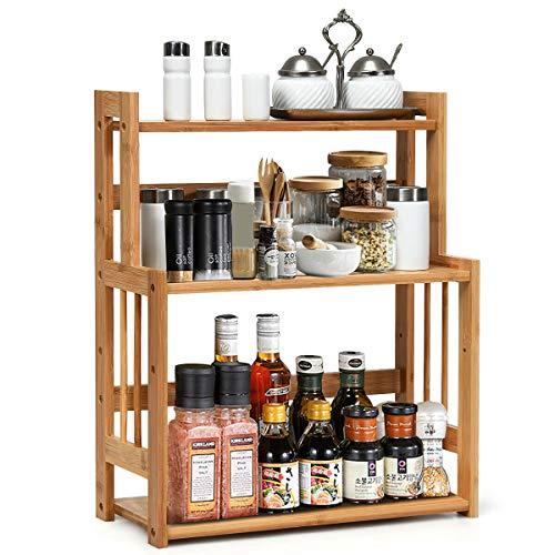 3 Tier Bamboo Wood Spice Rack Organizer for Countertop with Adjustable Storage Shelf Jar Seasoning Holder Bathroom Kitchen Furniture