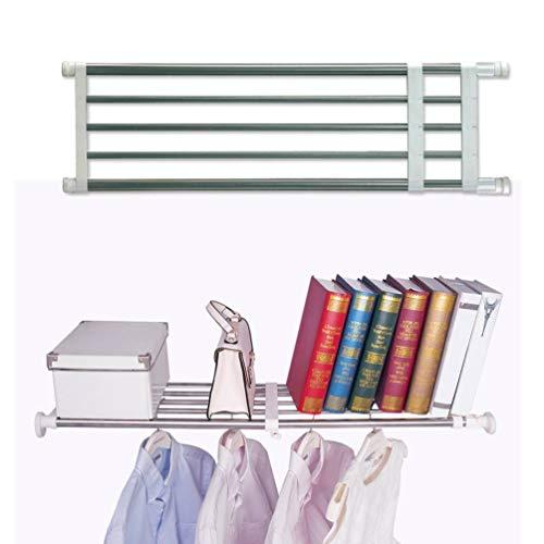 BAOYOUNI Closet Tension Shelf Rod Heavy Duty Wardrobe Organizer Adjustable Storage Shelves Rack DIY Closet Dividers Separators for Kitchen Bathroom Bedroom Garage 1969-315 Inches
