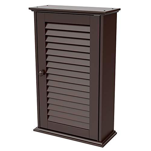 Topeakmart BathroomKitchen Wall Mounted Single Louvered Door 3 Tier Adjustable Storage Shelf Medicine CabinetCupboard