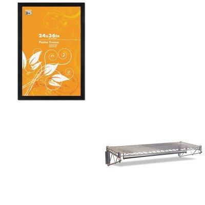 KITALEWS3618SRDAX2863U2X - Value Kit - Best Steel Wire Wall Shelf Rack ALEWS3618SR and DAX MANUFACTURING INC Black Solid Wood Poster Frames wPlastic Window DAX2863U2X