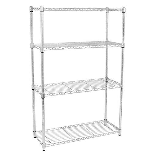 4-Tier Shelf Wire Shelving Unit Garage NSF Certified Metal Large Storage Shelves Heavy Duty Steel Layer Rack Organizer for Office Bathroom Kitchen 36x 14x 48,Chrome