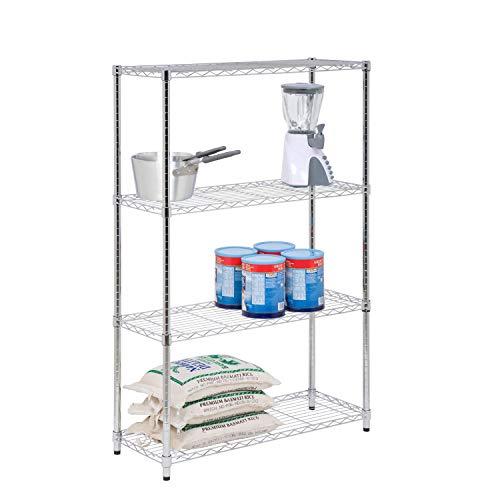 Honey-Can-Do SHF-01906 4-Tier Chrome Shelving unit-250 lbs 4-Tier