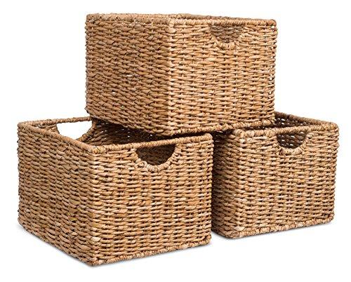 BIRDROCK HOME Storage Shelf Organizer Baskets with Handles - Set of 3 - Seagrass Wicker Basket - Pantry Living Room Office Bathroom Shelves Organization - Under Shelf Basket - Handwoven Natural