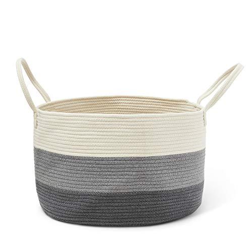 ColeyBear Woven Laundry Basket Three Toned Off White Grey Dark Grey ToyStorage Bin Throw Blanket Basket Home Decor Plant Holder Cotton Rope Decorative Basket Adorable NurseryKids RoomBedroom