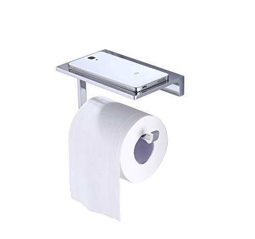 SANLIV Solid Brass Paper Towel Holder Bathroom Toilet Tissue Roll Holder with Mobile Phone Storage Shelf Polished Chrome