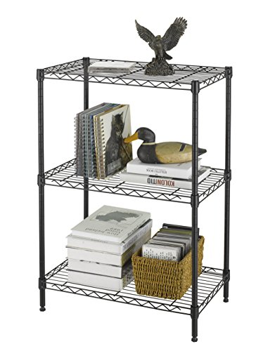 "Finnkare Premium Heavy Duty 3 Tier Adjustable Metal Wire Shelving Rack Unit Storage Organizer Tower Shelf System 3Layer Anti-Rust Coating Display Workshop Kitchen Steel Leveling Feet 24""x14""x30"" Black"