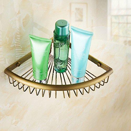 Antique Brass Bathroom Shower Corner Basket Organizer Rack Wall Mounted Single Tier