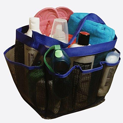 Mesh Shower Caddy Tote plus PVC Zipper Bag - Toiletry Bag for Travel Camp College Dorm Blue-Black
