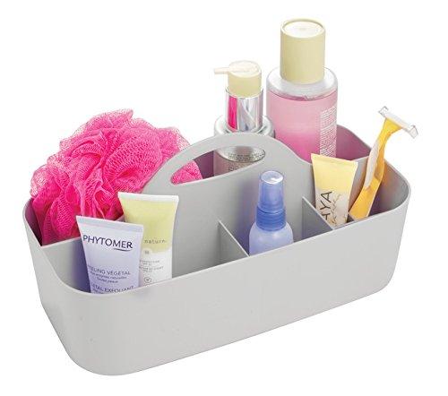 mDesign Bathroom Shower Caddy Tote for Shampoo Soap Lotion Razors - Medium Light Gray