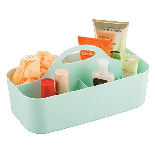 mDesign Bathroom Shower Caddy Tote for Shampoo Soap Lotion Razors - Medium Mint Green