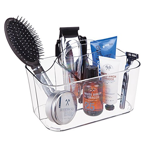 mDesign Mens Bathroom Shower Caddy Tote for Cologne Shampoo Soap Razors - Clear