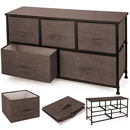 Happybuy Dresser Storage Tower with 5 Fabric Drawer Steel Frame Storage Cabinet Bin Storage Organizer Unit Fabric Cube Dresser Chest Cabinet Coffee Wide CoffeeWide