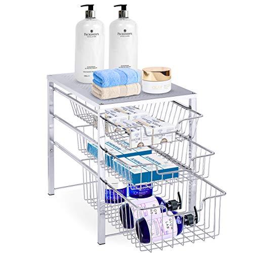 Simple Trending 3-Tier Under Sink Cabinet Organizer with Sliding Storage Drawer Desktop Organizer for Kitchen Bathroom Office Stackable Chrome