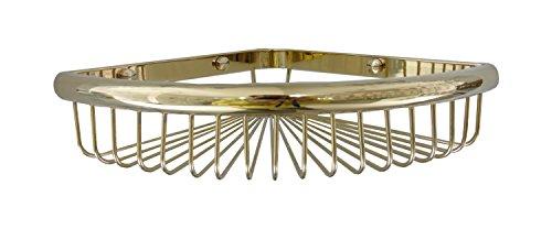 2015 New Solid Brass Zironium Gold Finish Corner Shower Caddy Storage Wire Tub and Shower Soap Basket Holder Bathroom Kitchen Triangle Shelf No31