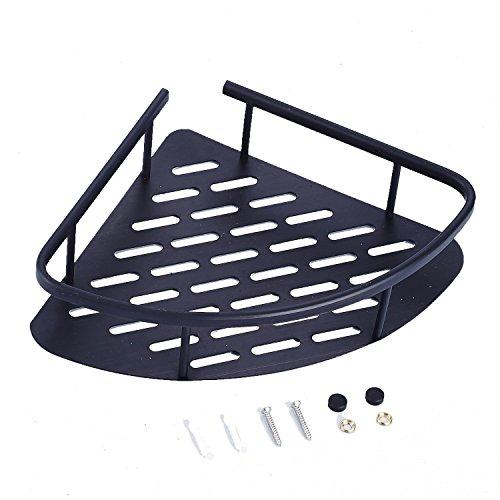 Black Coated Triangle Brass Bathroom Plate-type Shelf Wall Mounted Shower Baskets Corner Pole Caddy for ShampooSoapConditioner