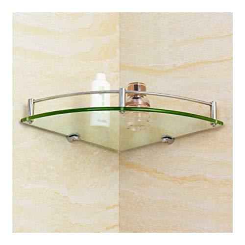 HUIZWJ Bathroom Corner Glass Shelf Triangle Tempered Glass SUS 304 Stainless Steel Wall Mounted Shower Basket Drilling 20~28cm HUIZWJ-0107 Size  250mm