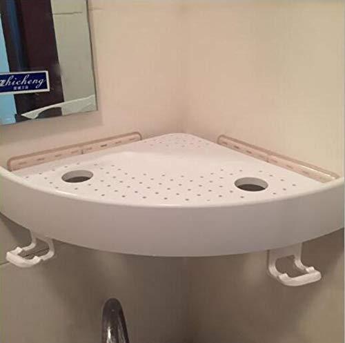 JJKB Multifunction Plastic No Drilling Bathroom Storage Shelf Lavatory Wall Mounted Shower Basket Bathroom Corner Shelves-a