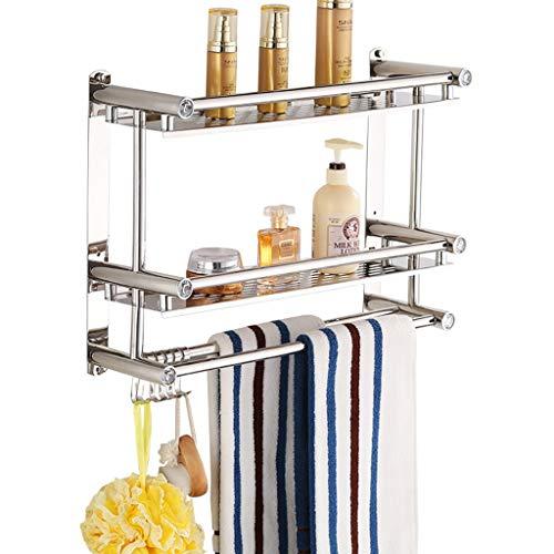 SHOP YJXA Stainless Steel Bathroom Square Frame Wall-Mounted Shower Basket 2 Layer Removable Bathroom Towel Rack Floating Shelves Size  60cm