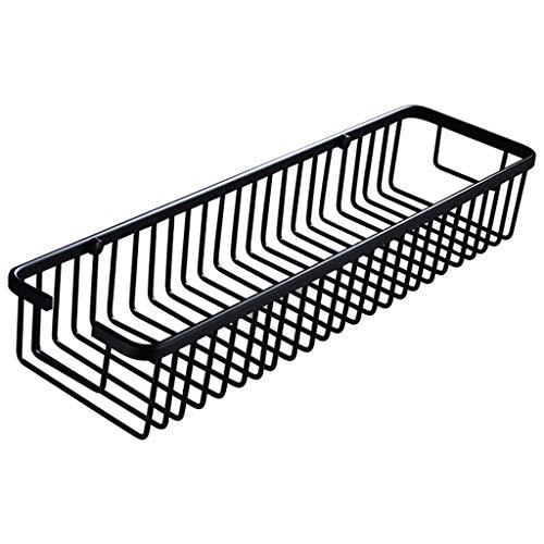 WANGYONG Black Punch-Free Bathroom Shelf Bathroom Single-Layer Storage Rack Kitchen Wall-Mounted Shower Basket Space Aluminum ZWJ Size  M