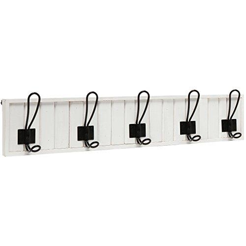 Decorative Wall Mounted White Wood 5 Black Metal Dual Coat Hooks Entryway Rack  Bathroom Towel Hanger